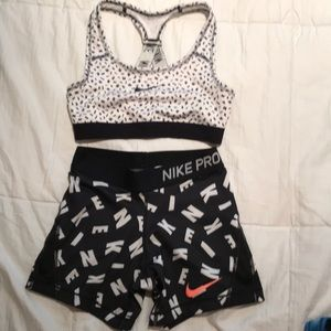 NWOT Nike Sports Bra Pro Shorts YM 7-8